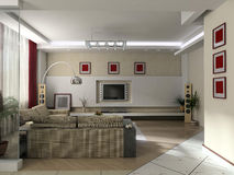 Modern interior. Interior of a drawing room with a cinema stock photo