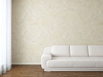 Modern interior. Room with white sofa near stucco wall Stock Images