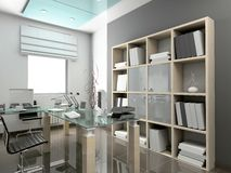 Modern interior. 3D render. Office. Exclusive design stock illustration