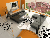 Modern interior. Of a drawing room stock photos