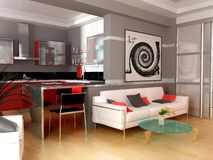 Modern interior. Exclusive interior of modern inhabited space 3d image Stock Photo