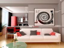 Modern interior. Exclusive interior of modern inhabited space 3d image Stock Photography