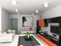 Modern interior. 3D render. Living-room. Exclusive design royalty free illustration