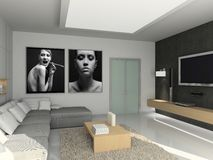 Modern interior. 3D render. Living-room. Exclusive design Royalty Free Stock Photography