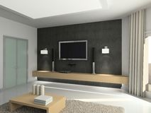 Modern interior. 3D render. Living-room. Exclusive design royalty free stock photo