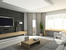 Modern interior. 3D render. Living-room. Exclusive design Stock Images