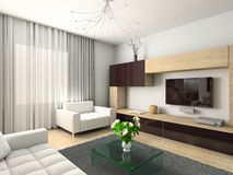 Modern interior. 3D render. Living-room. Exclusive design Stock Photos