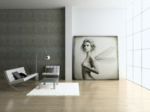 Modern interior. Modern interior with portrait. 3D render. Living-room Royalty Free Stock Image