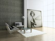 Modern interior. Modern interior with portrait. 3D render. Living-room Royalty Free Stock Photo