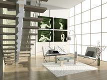 Modern interior. Modern interior with portrait. 3D render. Living-room stock photography