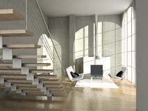 Modern interior. Modern comfortable interior with a fire-place. 3D render stock illustration
