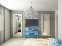 Modern interior. 3D render. Living-room. Exclusive design stock illustration
