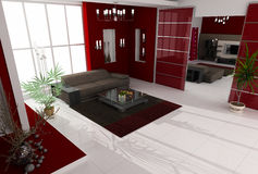 Modern interior. Of a hall Royalty Free Stock Image