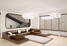 Modern interior 3d. Modern interior of room with stairs 3d Stock Photography