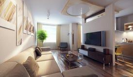 Modern interior 3d vector illustration