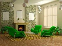 Modern interior 3d Stock Photos
