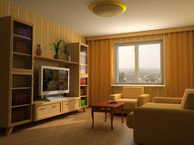 Modern interior 3d. Modern interior design with fireplace and sofas Stock Image