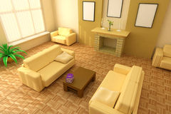 Modern interior 3d. Modern interior design with fireplace and sofas Stock Photo