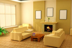 Modern interior 3d Stock Image