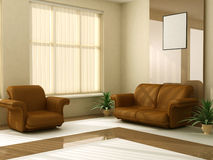 Modern interior 3d Stock Images