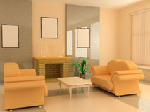 Modern interior 3d. Modern interior design with fireplace and sofas Royalty Free Stock Photos