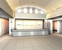 Modern Interior with 3D Reception hall of hotel royalty free stock photos