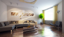 Modern interior 3d render royalty free illustration