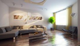 Modern interior 3d render Royalty Free Stock Image