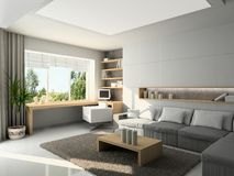 Modern interior. 3D render Stock Photography