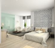 Modern interior. 3D render stock illustration