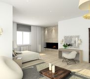 Modern interior. 3D render Stock Photos