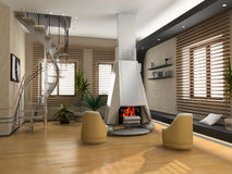 Modern interior. The modern interior design with fireplace (3D Stock Photos