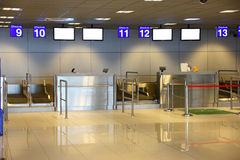 Modern interior of airport terminal Stock Photo