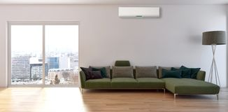 Modern interior apartment with air conditioning 3D rendering ill. Ustration stock image