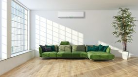 Modern interior apartment with air conditioning 3D rendering ill