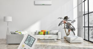 Modern interior apartment with air conditioning and remote control 3D rendering illustration stock photos