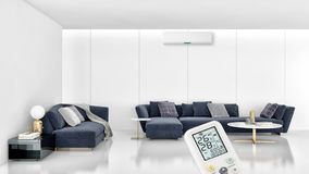 Modern interior apartment with air conditioning and remote control 3D rendering illustration royalty free stock photography