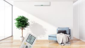 Modern interior apartment with air conditioning and remote control 3D rendering illustration royalty free stock images