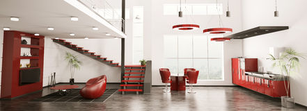 Modern interior of apartment panorama 3d render Royalty Free Stock Photography