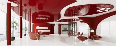Modern interior of apartment panorama 3d render Stock Photography