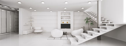 Modern interior of apartment panorama 3d render Stock Image