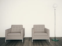 Modern interior armchair 3d rendering Royalty Free Stock Images