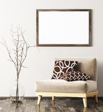 Modern interior with armchair,vase and mock up frame 3d renderin. Interior of living room with beige armchair,vase with branch and mock up frame 3d rendering Royalty Free Stock Photos