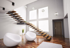Modern interior with armchairs and staircase 3d Royalty Free Stock Photography