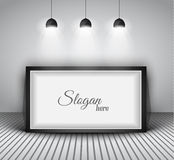 Modern interior art gallery frame design with spotlights. Stock Images