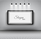 Modern interior art gallery frame design with spotlights. Royalty Free Stock Photo
