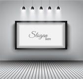 Modern interior art gallery frame design with spotlights. Royalty Free Stock Photo