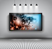 Modern interior art gallery frame design with spotlights. Royalty Free Stock Images