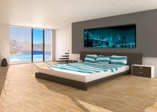 Modern interior av ett sovrum Fotografering för Bildbyråer