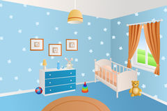 Modern interior baby room blue toys white bed window illustration Stock Photos
